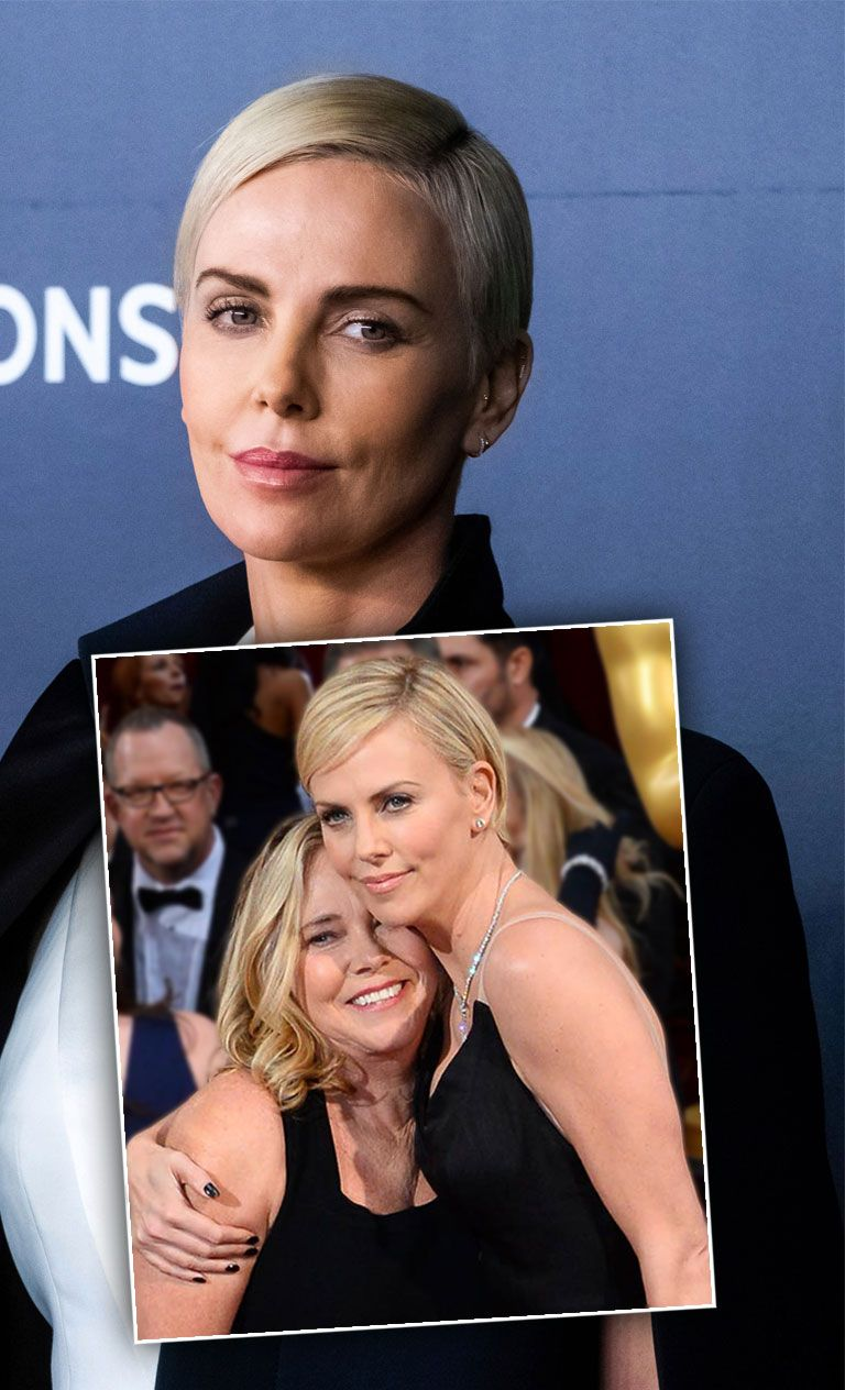 Charlize Theron 2019, Inset Greda Theron e Charlize Theron em 2014, Details Night Mom Killed Dad In Self Defense